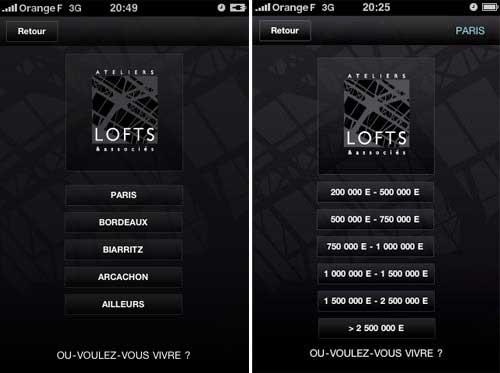 Deux applications immobilières sur les lofts pour iPhone