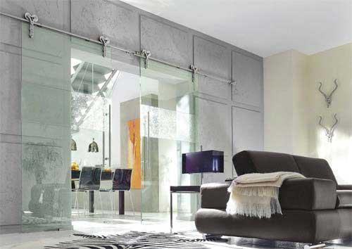 porte coulissante design double en verre. Black Bedroom Furniture Sets. Home Design Ideas