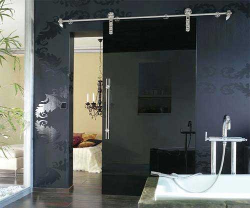 Porte coulissante noire - Porte vitree pour salle de bain ...