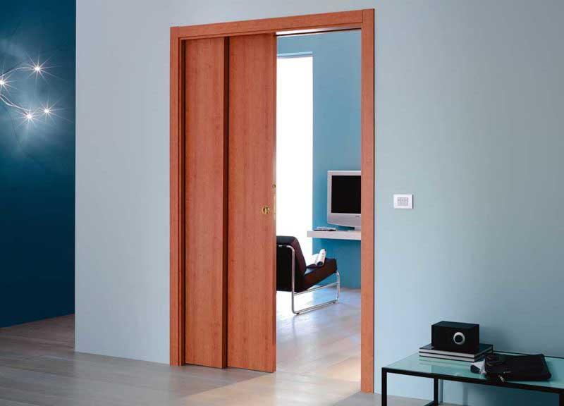 Porte coulissante telescopique bois