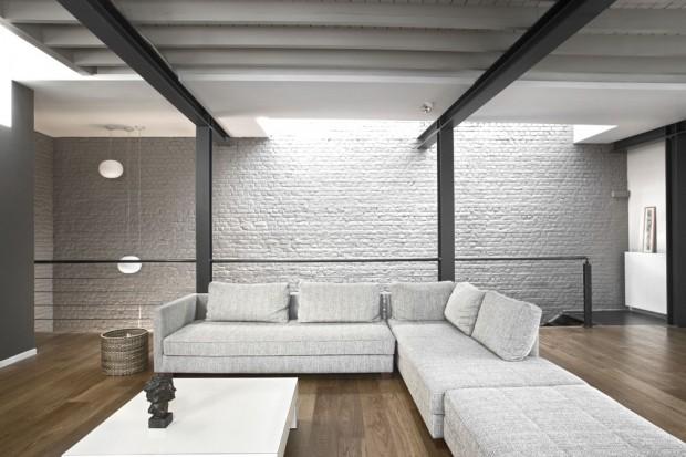 mur en brique gris clair