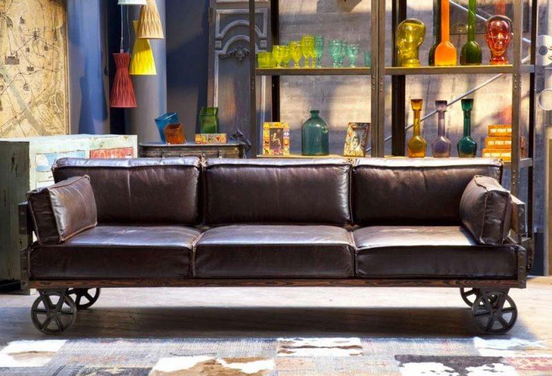 canap cuir esprit industriel. Black Bedroom Furniture Sets. Home Design Ideas