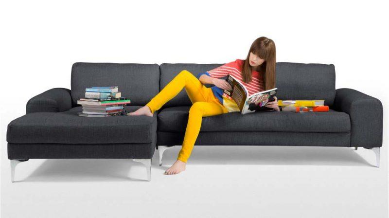 Canapé design d'angle gris foncé