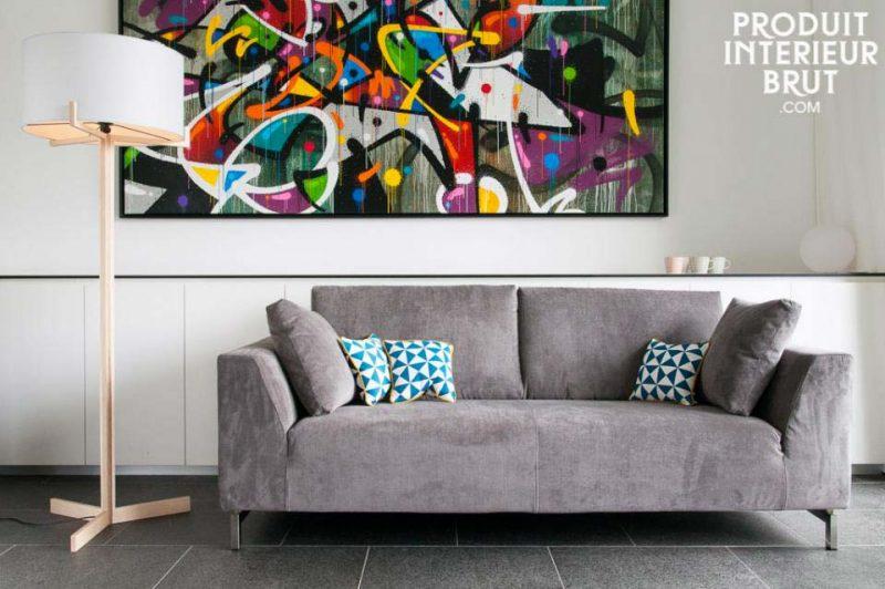 Canapé déhoussable gris en velours