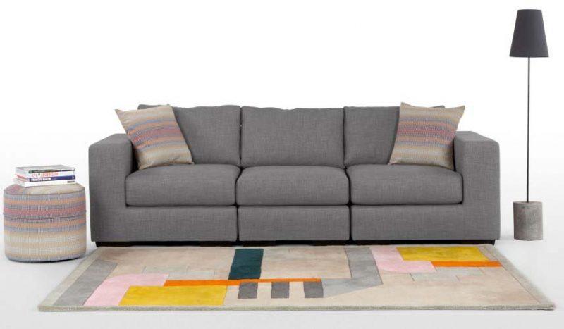 Canape quatre places en tissu gris