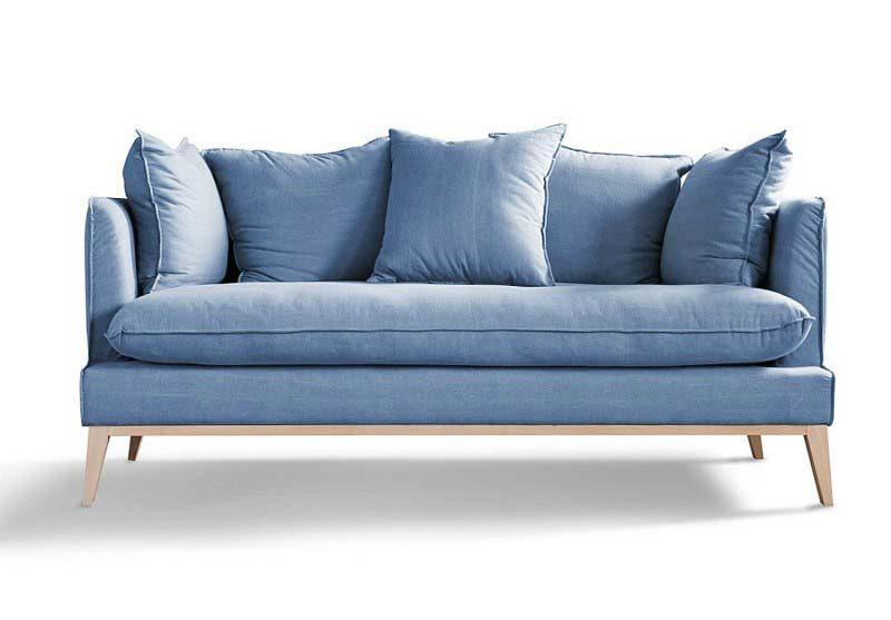 Canapé trois places bleu