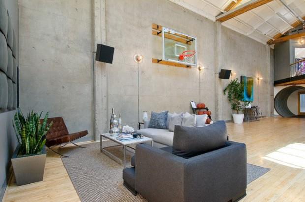 Panier de basket dans un loft