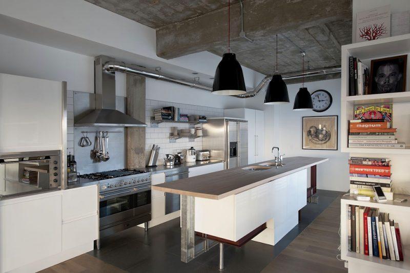 Cuisine avec ilot central dans un loft for Ilot central dans cuisine