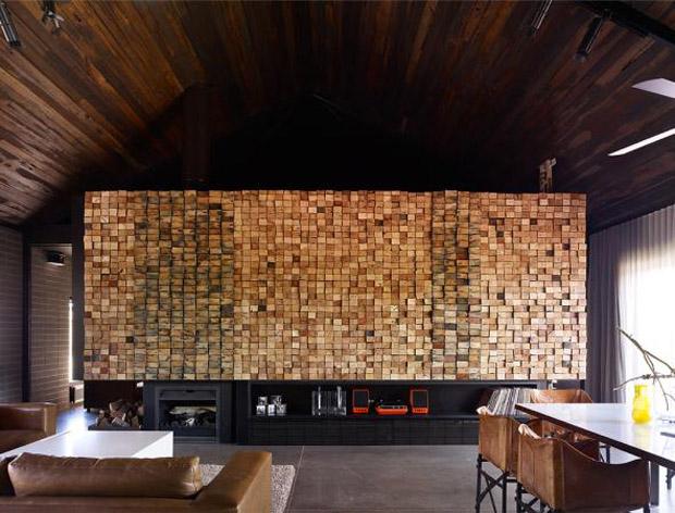 Decoration Mur Interieur En Bois : craque pour le mur en bois qui s?pare la pi?ce de vie de la cuisine