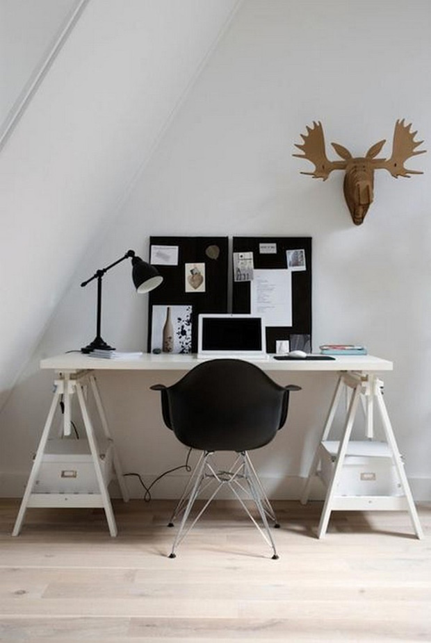 bureau avec chaise eames. Black Bedroom Furniture Sets. Home Design Ideas