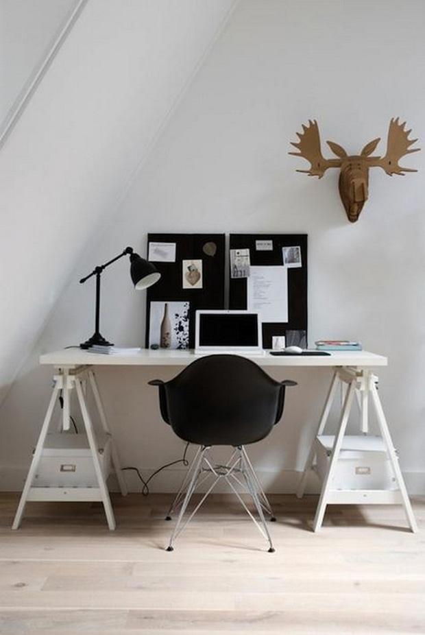 bureau deco scandinave avec chaise eames - Comment Faire Un Bureau Avec Un Plan De Travail