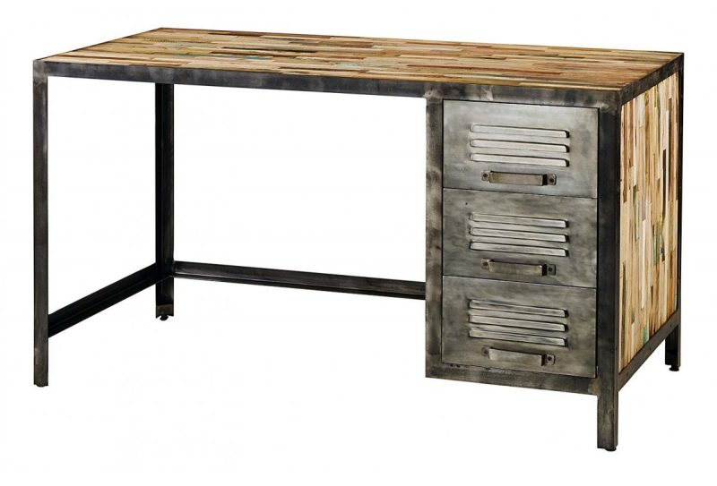 Bureau déco industrielle en bois et métal
