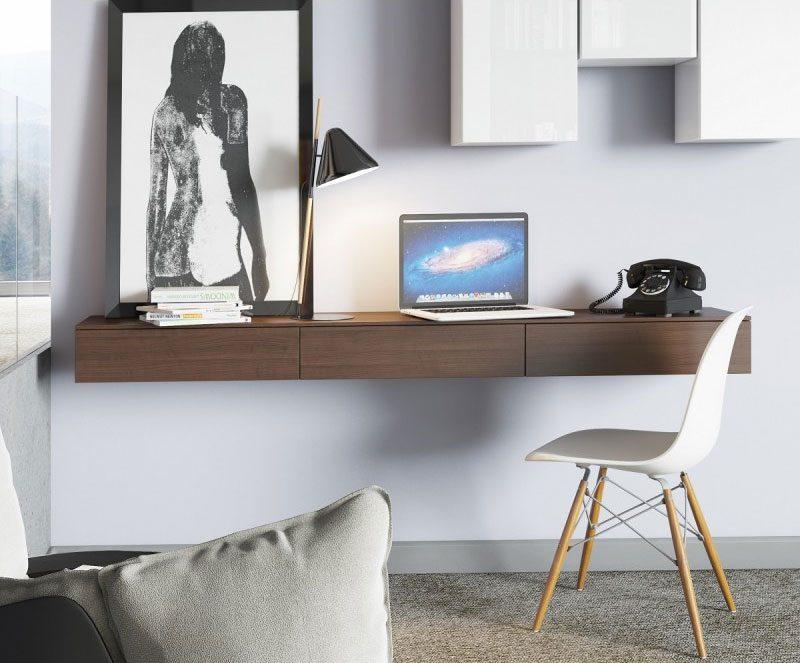 Bureau mural minimaliste