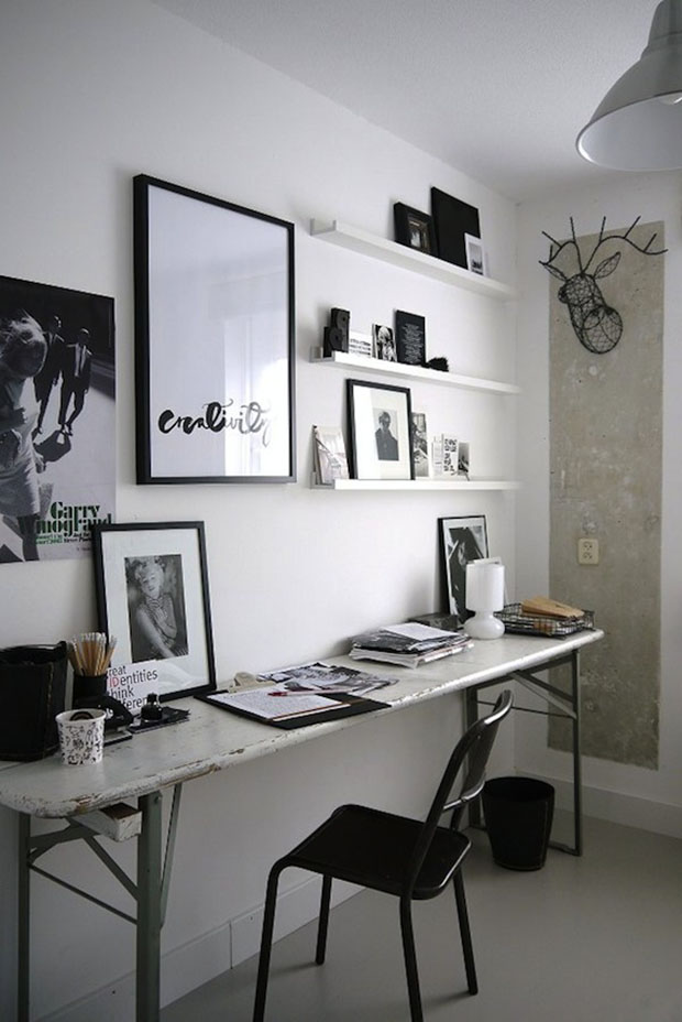 bureau noir et blanc. Black Bedroom Furniture Sets. Home Design Ideas