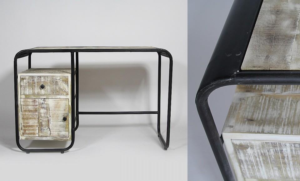 bureau vintage en bois et m tal. Black Bedroom Furniture Sets. Home Design Ideas