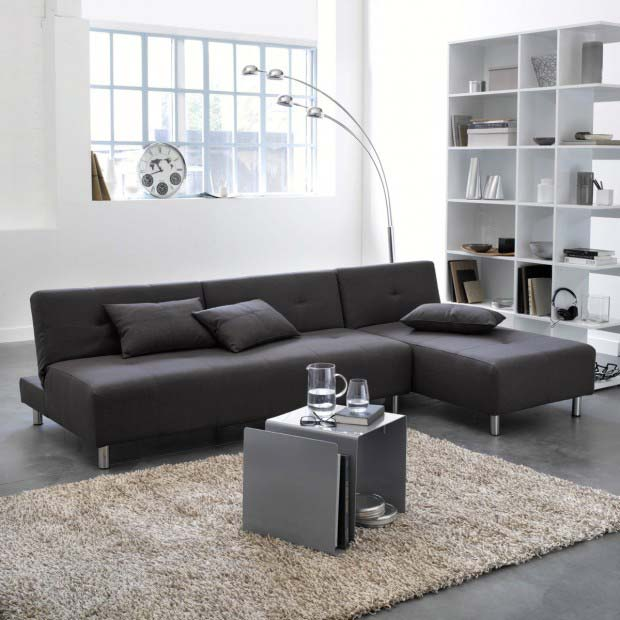 canap d 39 angle la redoute avec pieds en inox. Black Bedroom Furniture Sets. Home Design Ideas