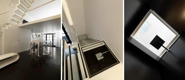 Douche sous un escalier
