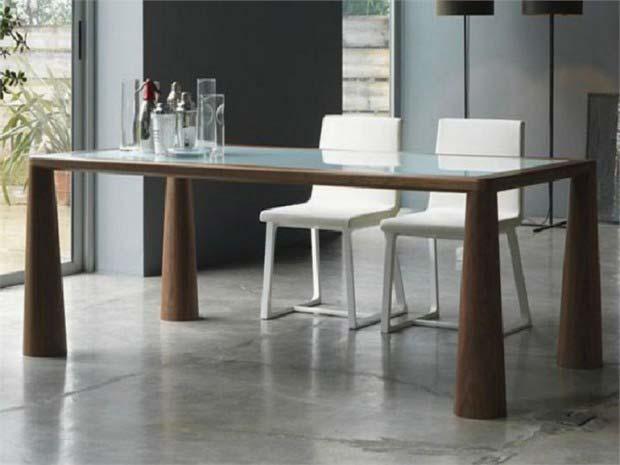 Table design en bois for Pied pour table en verre