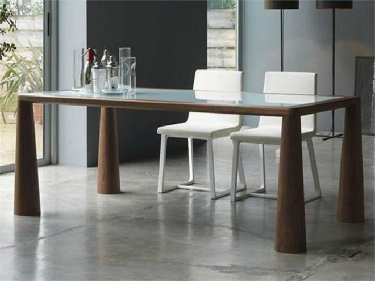 table verre avec pied bois. Black Bedroom Furniture Sets. Home Design Ideas