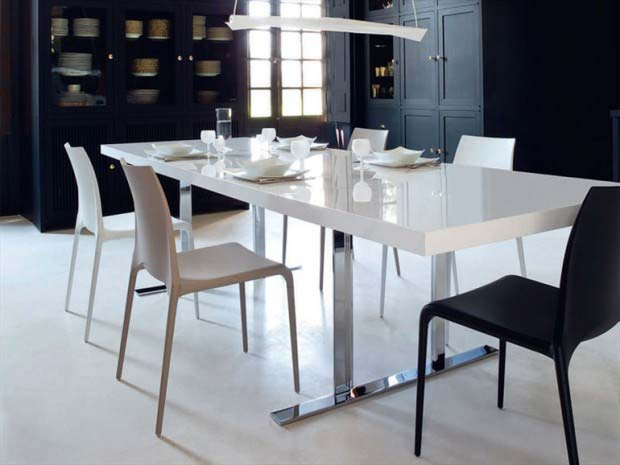 table avec pieds chrom s. Black Bedroom Furniture Sets. Home Design Ideas