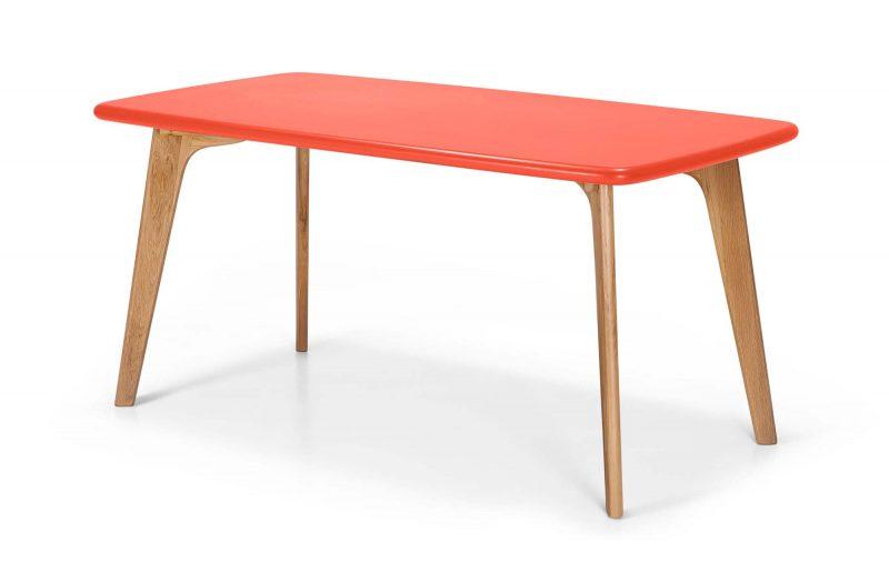 Table en chêne avec plateau orange
