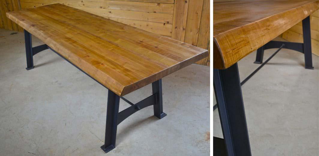 table avec plateau en bois massif sur mesure. Black Bedroom Furniture Sets. Home Design Ideas