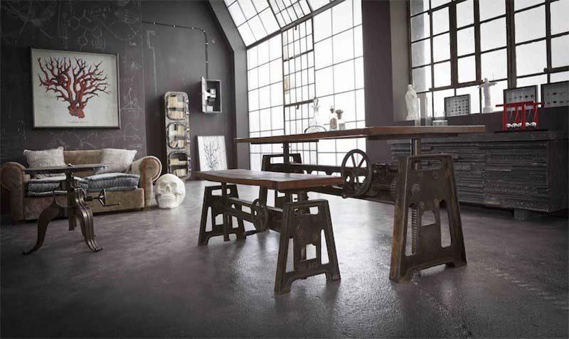 table d co industrielle. Black Bedroom Furniture Sets. Home Design Ideas