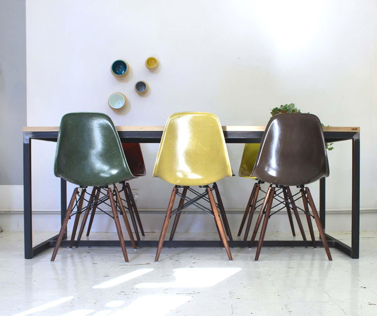 table industrielle en metal et bois sur mesure. Black Bedroom Furniture Sets. Home Design Ideas