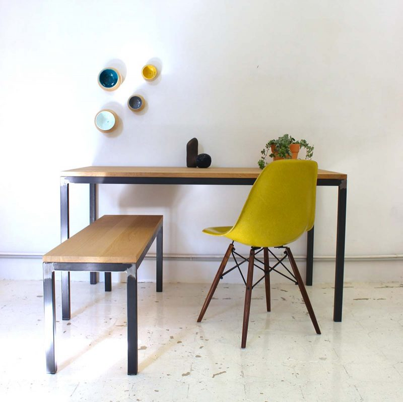 Idées Déco De Table - Table pied metal plateau chene pour idees de deco de cuisine