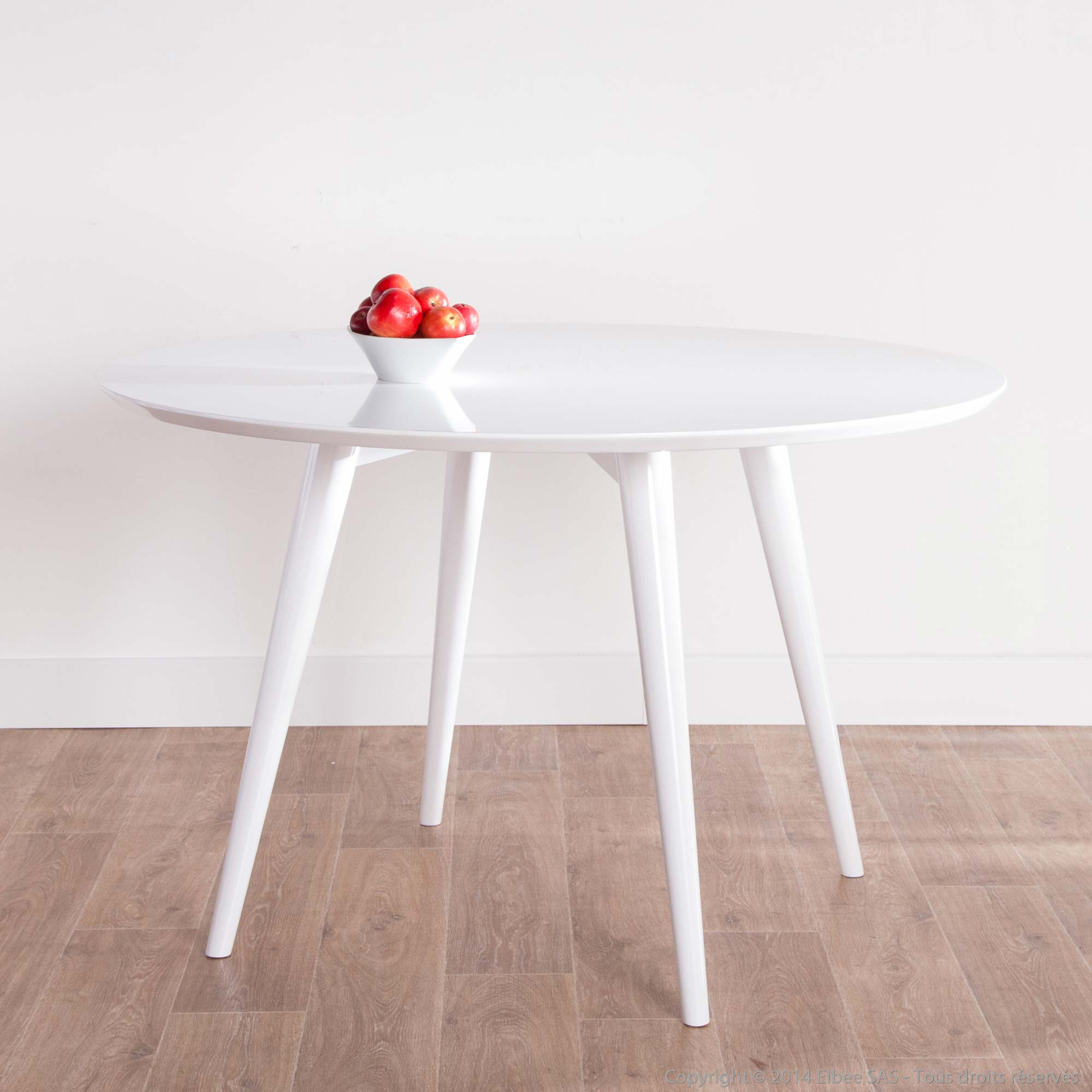 Table ronde blanc laque maison design for Table ronde blanc