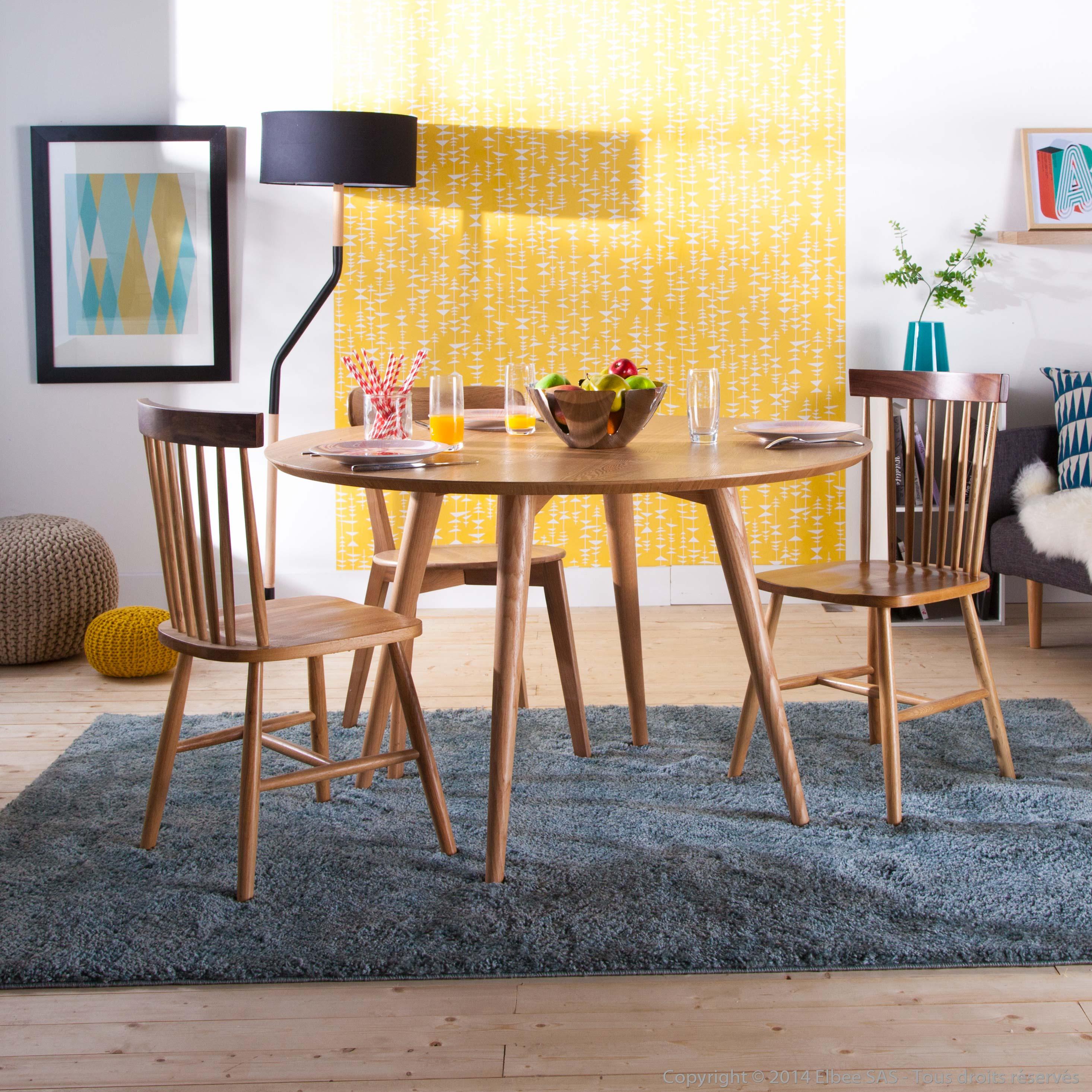 table ronde en bois de 120 cm de diam tre. Black Bedroom Furniture Sets. Home Design Ideas