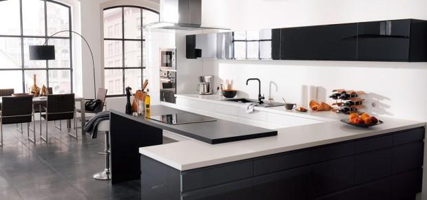 21 id es de cuisine pour votre loft - Modele cuisine noir et blanc ...