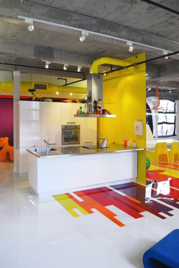 cuisine jaune et blanche deco easy inspirations cuisines esprit loft amp city en mode couleur - Cuisine Blanche Mur Jaune