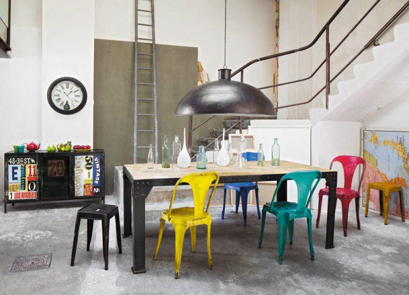 Chaise Multipl's en métal style industriel