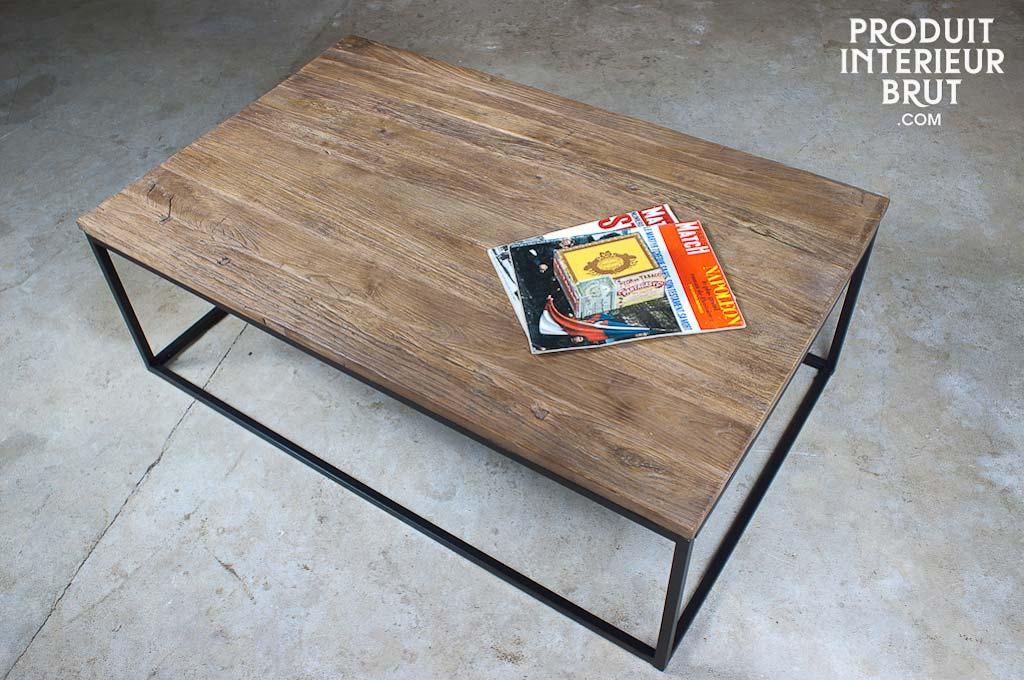 Table basse en bois et m tal Table basse planche bois