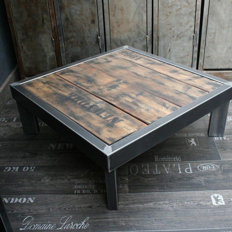 table basse bois et metal fabriqu e en france. Black Bedroom Furniture Sets. Home Design Ideas