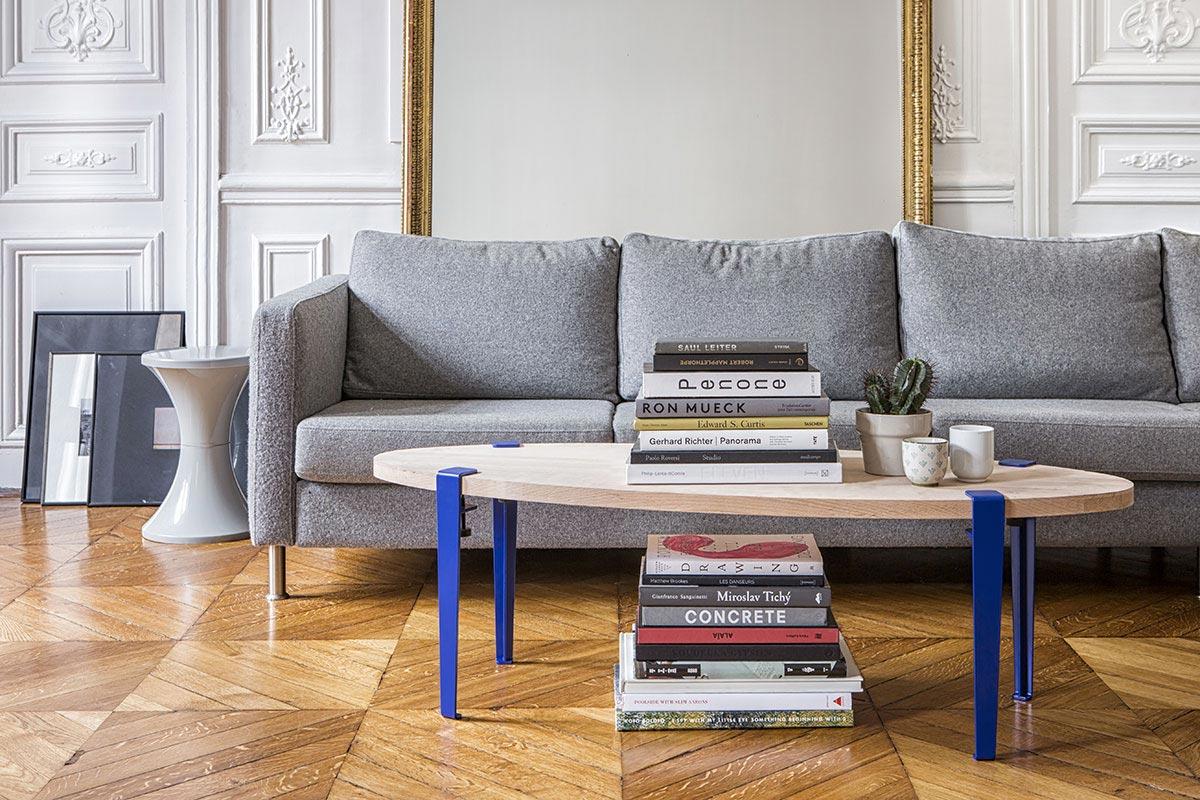 Table basse en bois avec pieds en m tal - Table pour salon de the ...