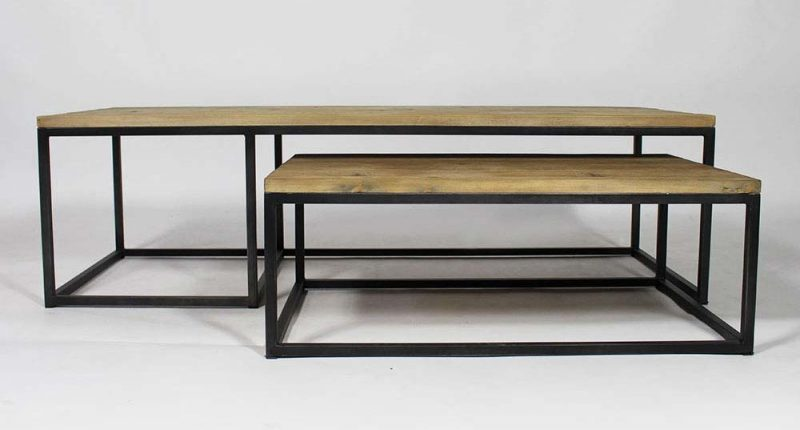 table basse industrielle gigogne. Black Bedroom Furniture Sets. Home Design Ideas