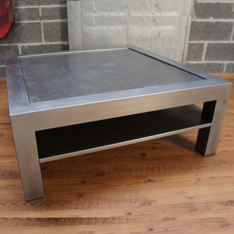 Table basse metal beton tablette rangement - Table basse avec tablette ...