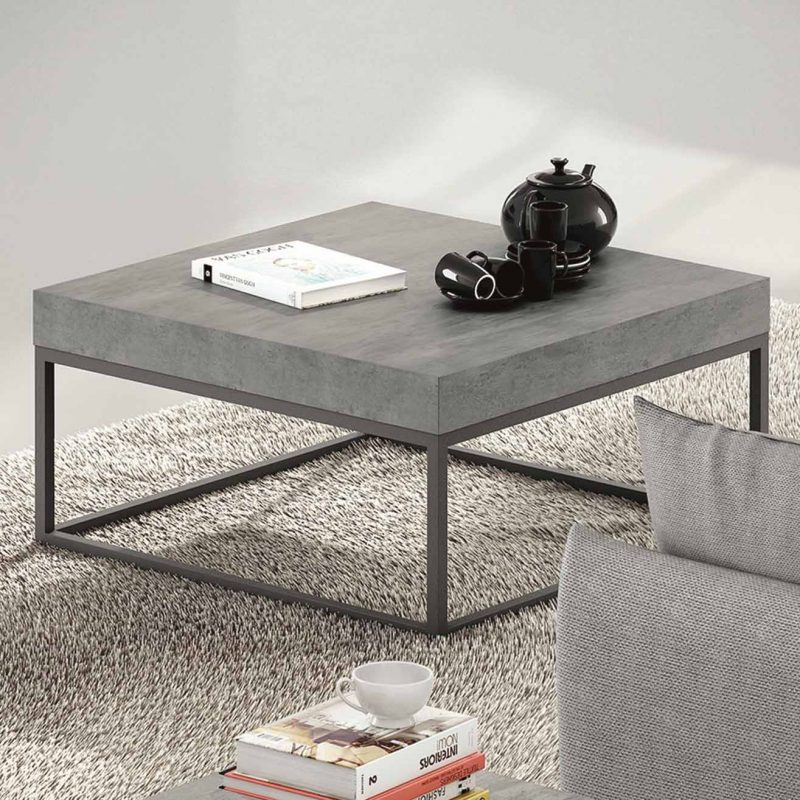 table basse avec plateau effet b ton. Black Bedroom Furniture Sets. Home Design Ideas