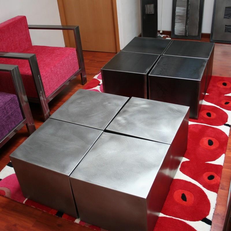 Table Basse Quatre Cubes Metal