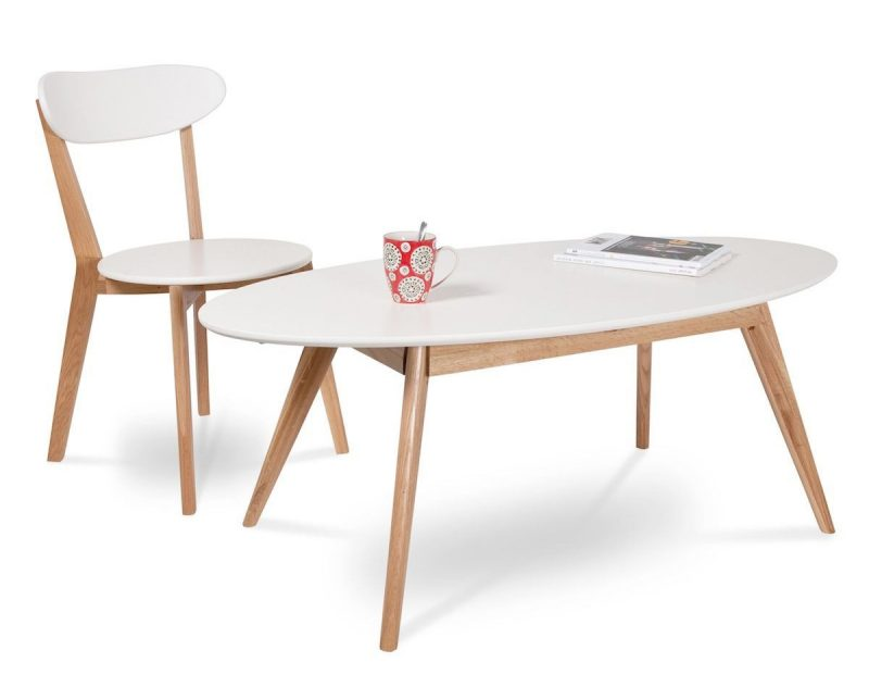 Maison du monde coffre de rangement with a white faux leather seat and a base inspired by one La petite table basse en bois brut