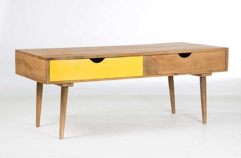 Table basse scandinave avec tiroir jaune for Table basse metal scandinave