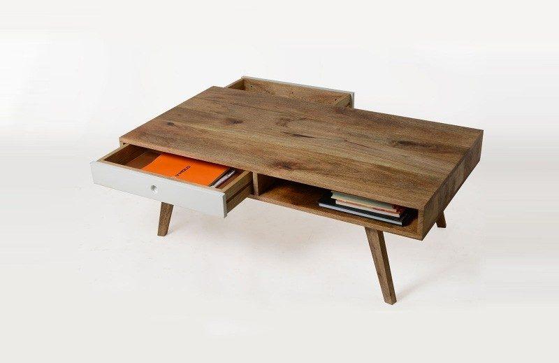 Table basse esprit scandinave avec tiroirs for Deco pour table de salon