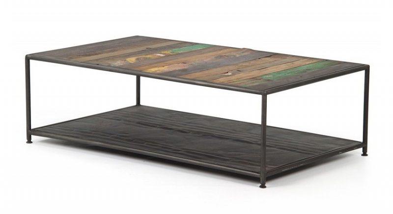 Table avec plateau en bois recyclé
