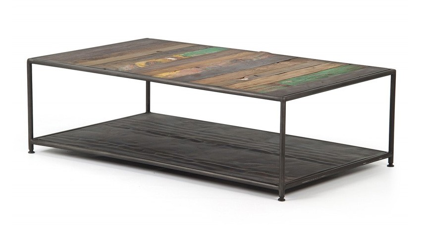 Table avec plateau en bois recycl - Plateau en bois pour table ...