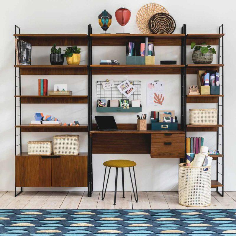 Bibliothèque modulable style vintage avec bureau