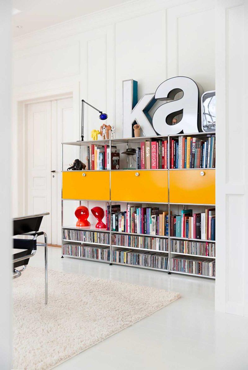 Bibliothèque modulable USM jaune