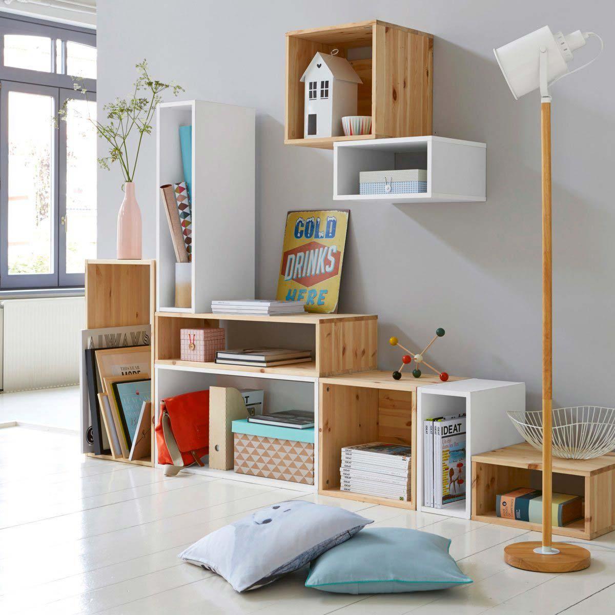 11 Cool Home Office Ideas For Men: Étagère Modulable La Redoute En Bois Et Bois Blanc