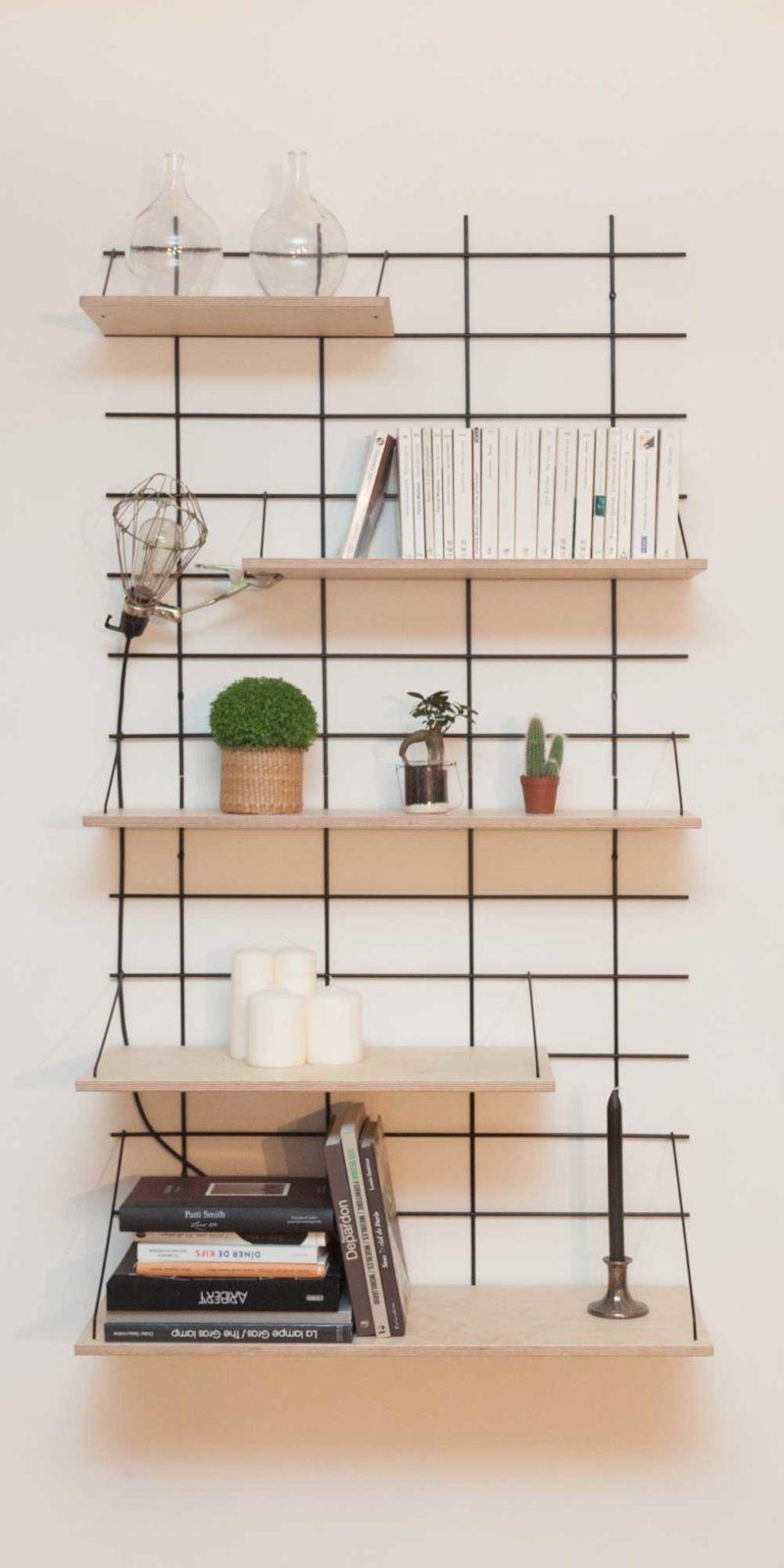 Étagère modulable en bois et métal